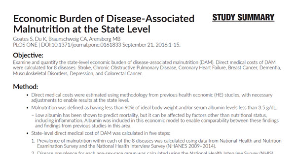 Economic Burden of Disease-Associated Malnutrition at the State Level