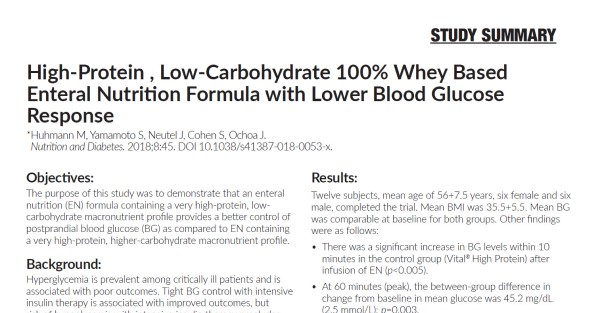 High-Protein, Low-Carbohydrate 100% Whey Based Enteral Nutrition Formula with Lower Blood Glucose Response (Study Summary)