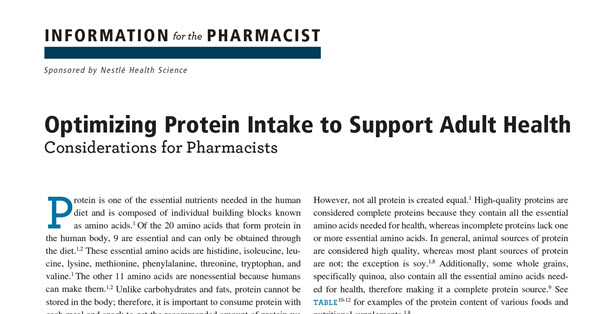 Optimizing Protein Intake to Support Adult Health