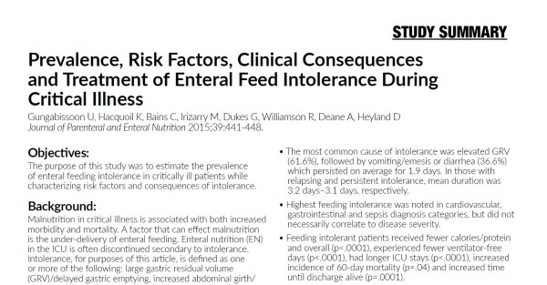 Prevalence, Risk Factors, Clinical Consequences and Treatment of Enteral Feed Intolerance During Critical Illness (Study Summary)