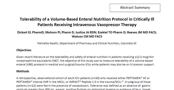 Tolerability of a Volume‐Based Enteral Nutrition Protocol in Critically Ill Patients Receiving Intravenous Vasopressor Therapy (Abstract Study)