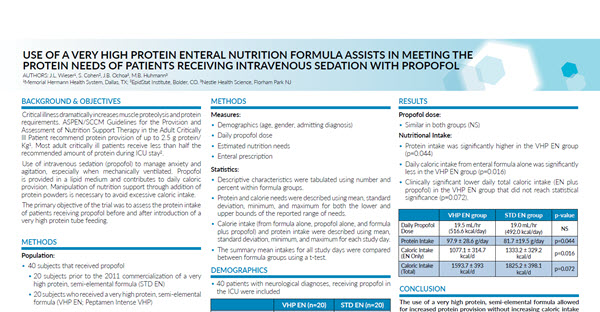 Use of a very high protein enteral nutrition formula assists in meeting the protein need of patients receiving intravenous sedation with propofol (Study Summary)