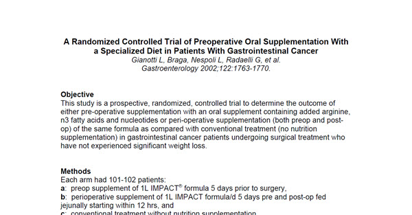 A Randomized Controlled Trial of Preoperative Oral Supplementation With a Specialized Diet in Patients With Gastrointestinal Cancer