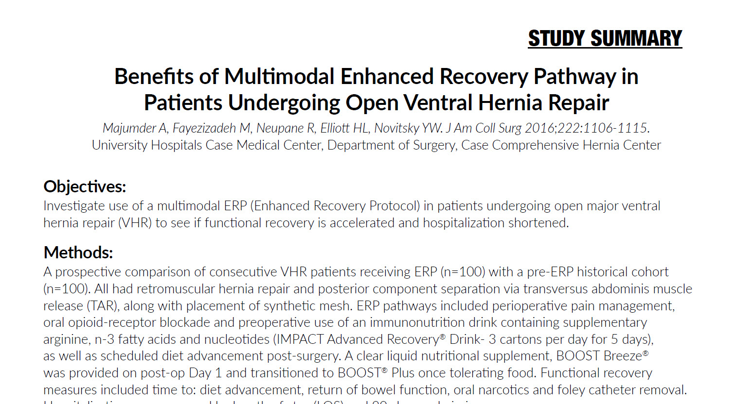 Benefits of Multimodal Enhanced Recovery Pathway in Patients Undergoing Open Ventral Hernia Repair
