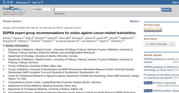 ESPEN Expert Group Recommendations For Action Against Cancer-Related Malnutrition