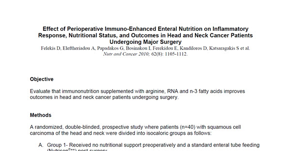 Effect of Perioperative Immuno-Enhanced Enteral Nutrition on Inflammatory Response, Nutritional Status, and Outcomes in Head and Neck Cancer Patients Undergoing...