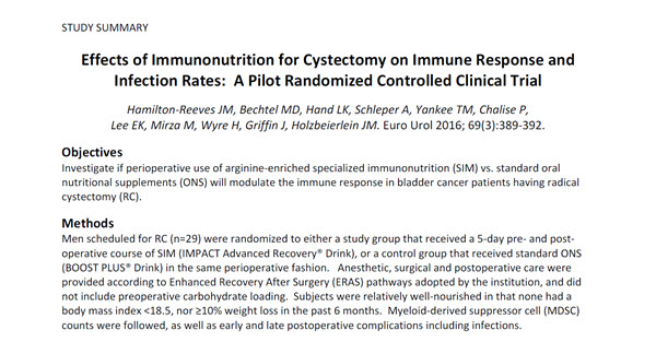 Effects of Immunonutrition for Cystectomy on Immune Response and Infection Rates