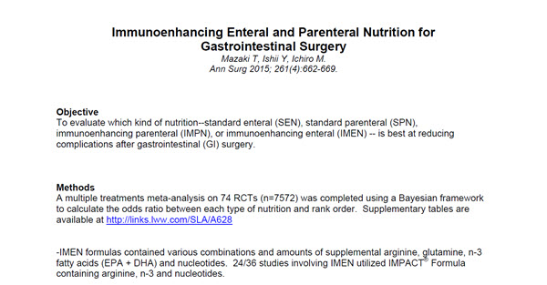 Immunoenhancing Enteral and Parenteral Nutrition for Gastrointestinal Surgery