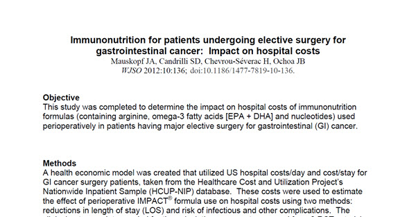 Immunonutrition for patients undergoing elective surgery for gastrointestinal cancer, Impact on Hospital Costs