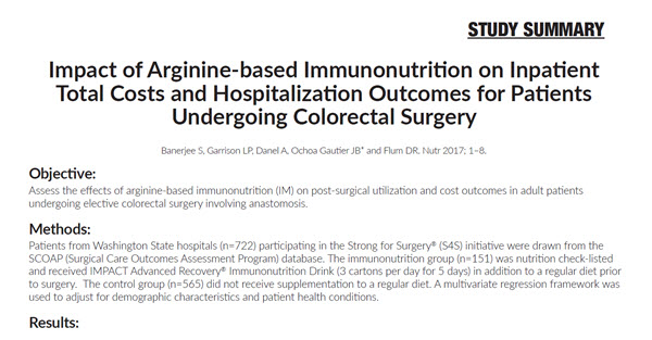 Impact of Arginine-based Immunonutrition on Inpatient Total Costs and Hospitalization Outcomes for Patients Undergoing Colorectal Surgery