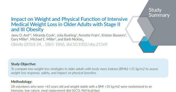 Impact on Weight and Physical Function of Intensive Medical Weight Loss in Older Adults with Stage II and III Obesity
