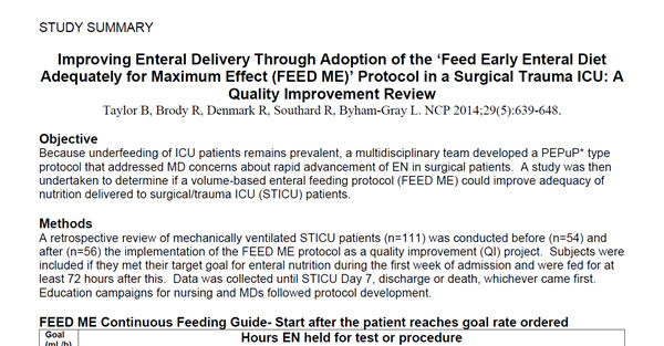 Improving Enteral Delivery Through Adoption of the 'Feed Early Enteral Diet Adequately for Maximum Effect (FEED ME)' Protocol in a Surgical Trauma ICU