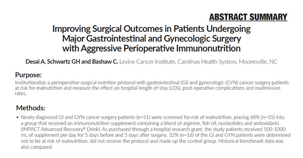 Improving Surgical Outcomes in Patients Undergoing Major Gastrointestinal and Gynecologic Surgery with Aggressive Perioperative Immunonutrition