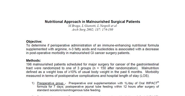 Nutritional Approach in Malnourished Surgical Patients