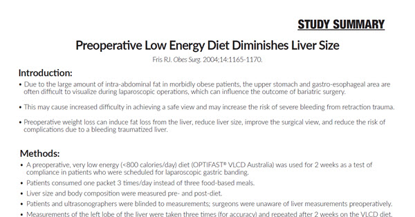 Preoperative Low Energy Diet Diminishes Liver Size