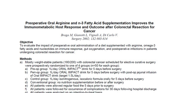 Preoperative Oral Arginine and n-3 Fatty Acid Supplementation Improves the Immunometabolic Host Response and Outcome after Colorectal Resection for Cancer