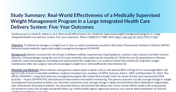 Real-World Effectiveness of a Medically Supervised Weight Management Program in a Large Integrated Health Care Delivery System