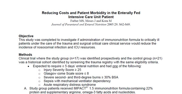 Reducing Costs and Patient Morbidity in the Enterally Fed Intensive Care Unit Patient