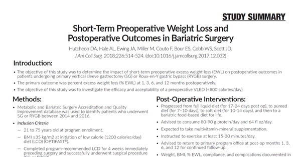 Short-Term Preoperative Weight Loss and Postoperative Outcomes in Bariatric Surgery
