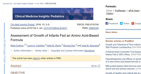 Assessment of growth of infants fed an amino acid-based formula
