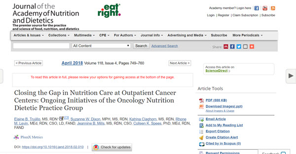 Closing the Gap in Nutrition Care at Outpatient Cancer Centers Ongoing Initiatives of the Oncology Nutrition Dietetic Practice Group