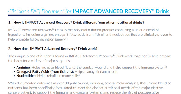 Clinician FAQs for IMPACT Advanced Recovery Drink