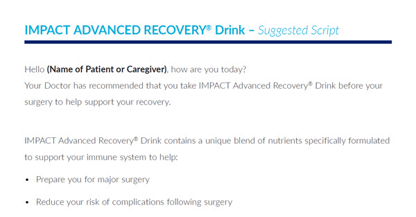 Clinician Script for IMPACT Advanced Recovery Drink