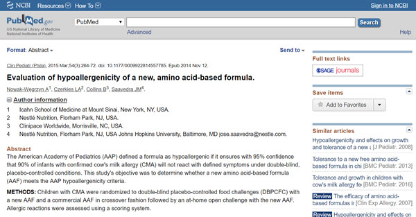 Evaluation of hypoallergenicity of a new, amino acid-based formula