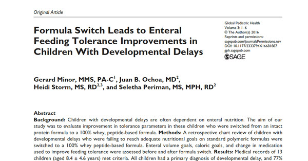 Formula Switch Leads to Enteral Feeding Tolerance Improvements in Children With Developmental Delays