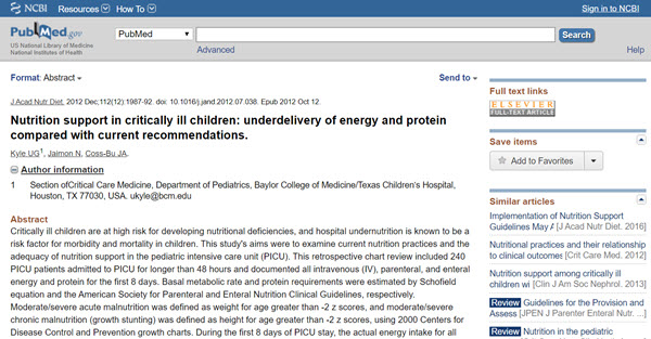 Nutrition support in critically ill children underdelivery of energy and protein compared with current recommendations