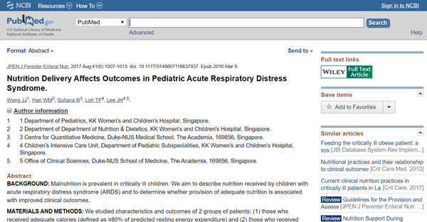 Nutrition delivery affects outcomes in pediatric acute respiratory distress syndrome (ARDS)