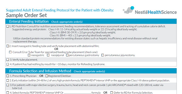 Suggested Adult Enteral Feeding Protocol for the Patient with Obesity