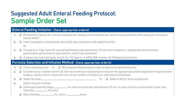 Suggested Adult Enteral Feeding Protocol
