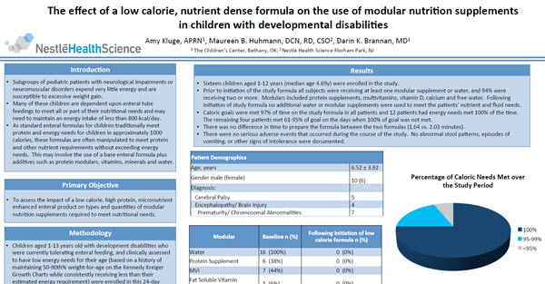 The Effect of a Low Calorie, Nutrient Dense Formula on the Use of Modular Nutrition Supplements in Children with Developmental Disabilities