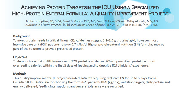 Achieving Protein Targeting the ICU using a Specialized High-Protein Enteral Formula, a Quality Improvement Project