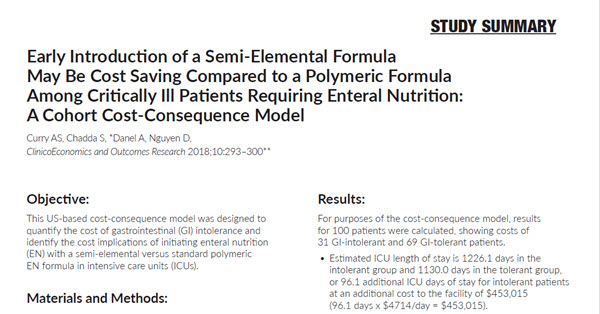 Early Introduction of a Semi-Elemental Formula May Be Cost Saving Compared to a Polymeric Formula Among Critically Ill Patients Requiring Enteral Nutrition
