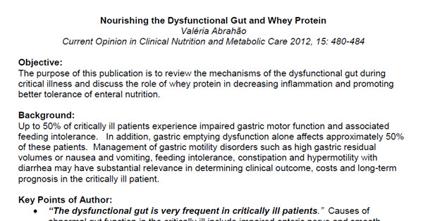 Nourishing the Dysfunctional Gut and Whey Protein (Study Summary)