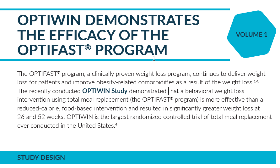 OPTIWIN DEMONSTRATES THE EFFICACY OF THE OPTIFAST® PROGRAM