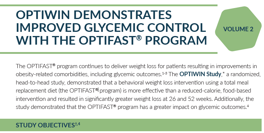 OPTIWIN DEMONSTRATES IMPROVED GLYCEMIC CONTROL WITH THE OPTIFAST® PROGRAM - VOLUME 2