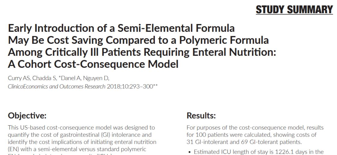 Early Introduction of a Semi-Elemental Formula May Be Cost Saving Compared to a Polymeric Formula Among Critically Ill Patients