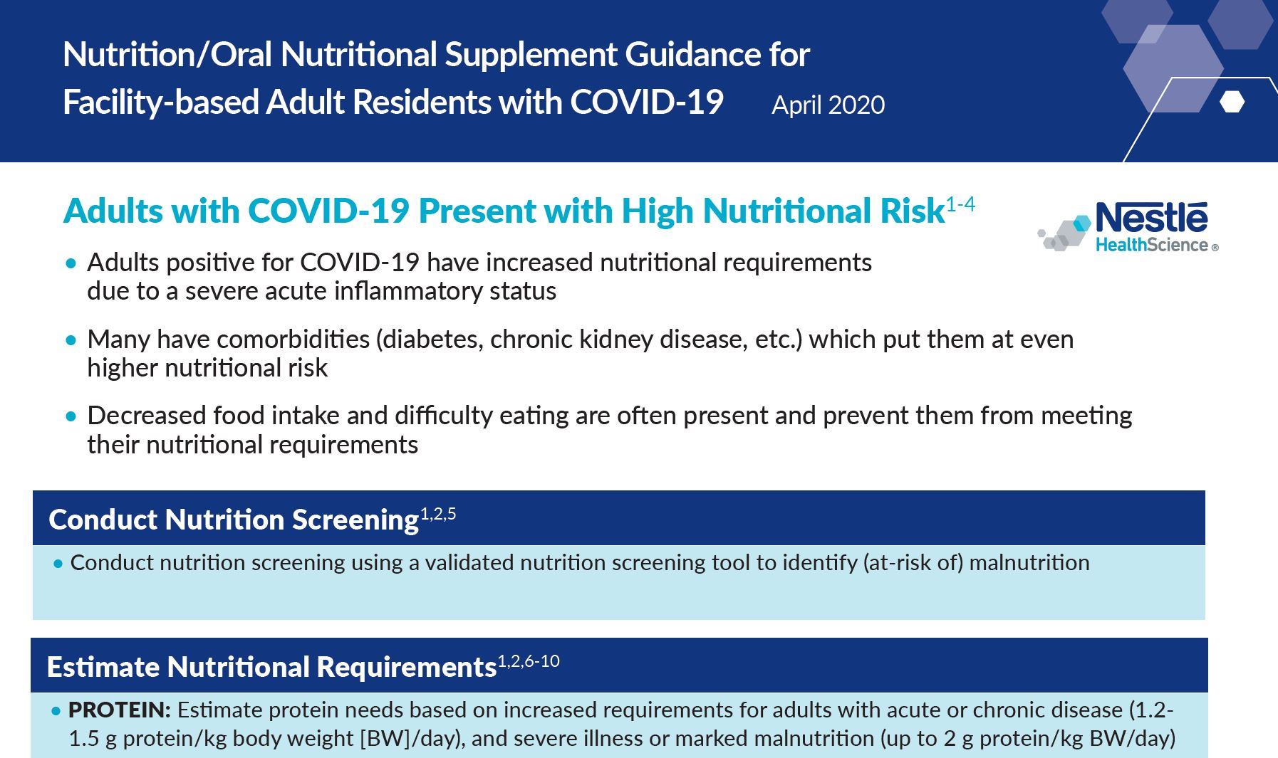 Nutrition/ONS Guidance for Facility-Based Adult Residents with COVID-19
