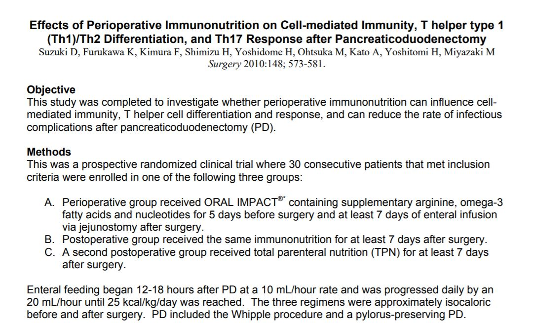 Effects of Perioperative Immunonutrition on Cell-mediated Immunity