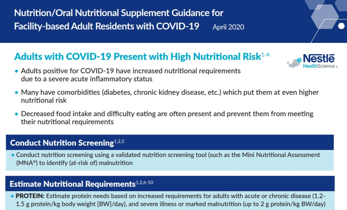 Nutrition / ONS Guidance for Facility-based Adults with COVID-19
