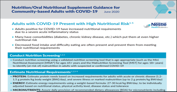 ONS Guidance for Feeding Community-Based Adults with COVID-19