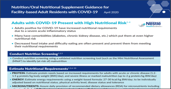ONS Guidance for Feeding Facility-Based Adults with COVID-19
