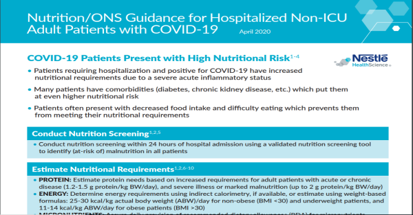 ONS Guidance for Feeding Hospitalized Non-ICU Patients with COVID-19