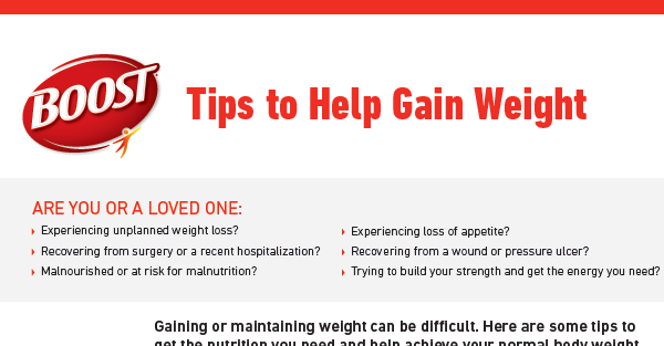 BOOST® Tips to Help Gain Weight