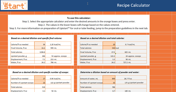 Lipistart DRI and Recipe Calculator 2020