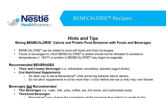 Benecalorie® Patient Handout - Mixing Ideas & Recipes