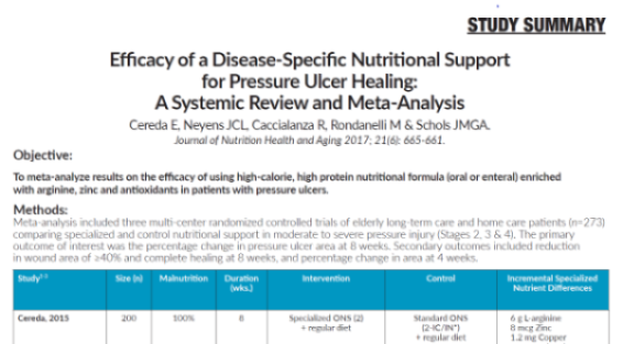 Efficacy of a Disease-Specific Nutritional Support for Pressure Ulcer Healing: A Systemic Review and Meta-Analysis (Study Summary)